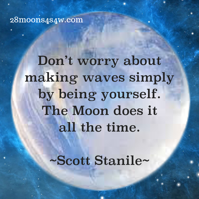 "Don't worry about making waves, the moon does it all the time"" quote by Scott Stanile 28moons4s4w dot com"
